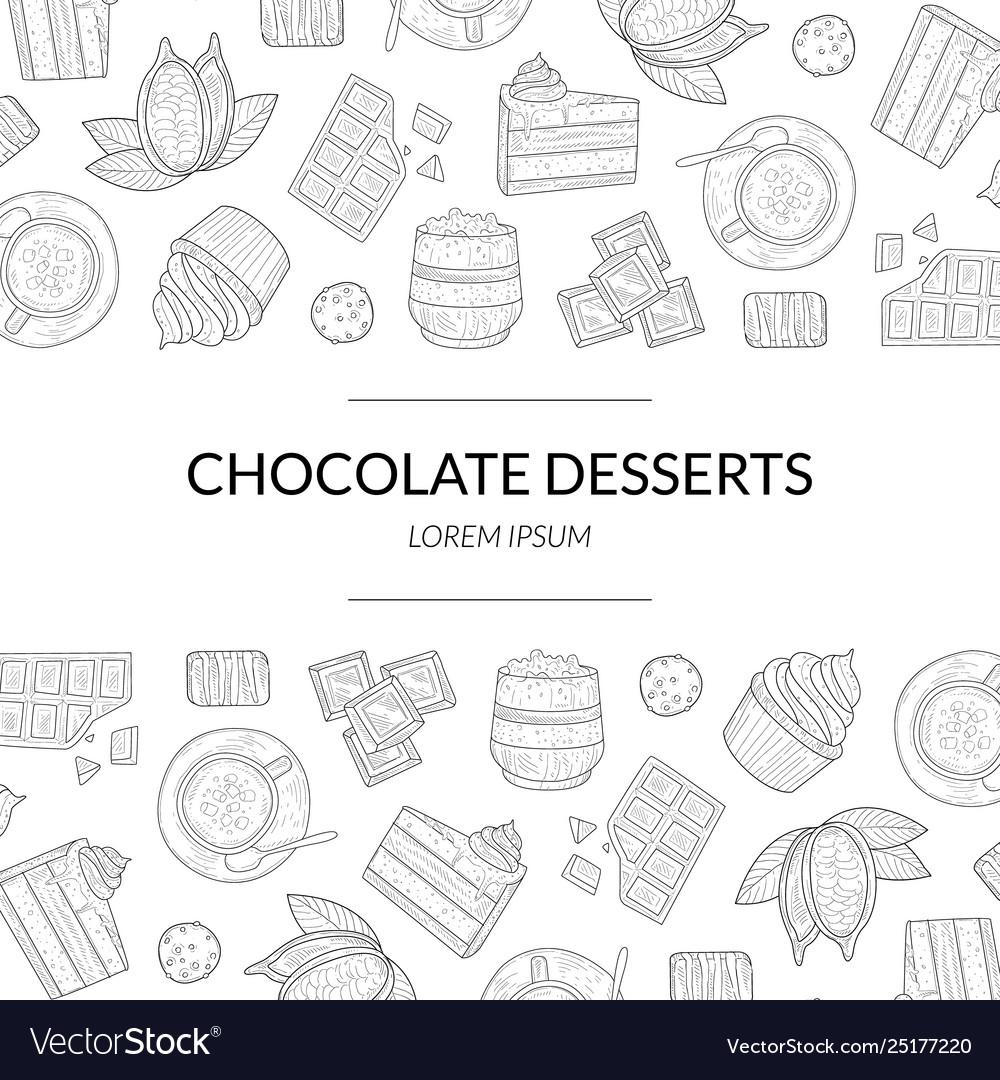 Chocolate desserts banner template with hand drawn