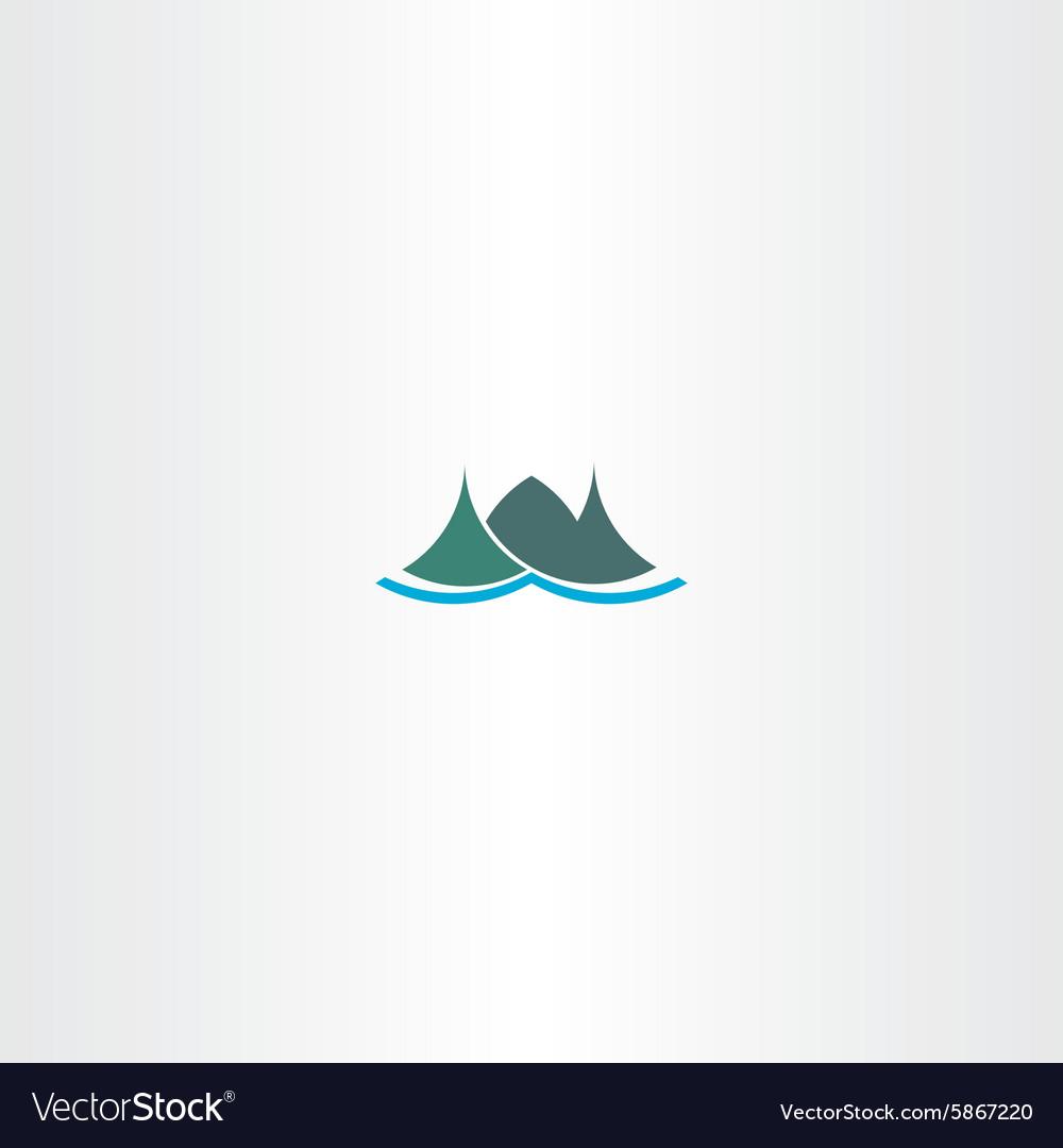 Logo mountain green iceland icon sign vector image
