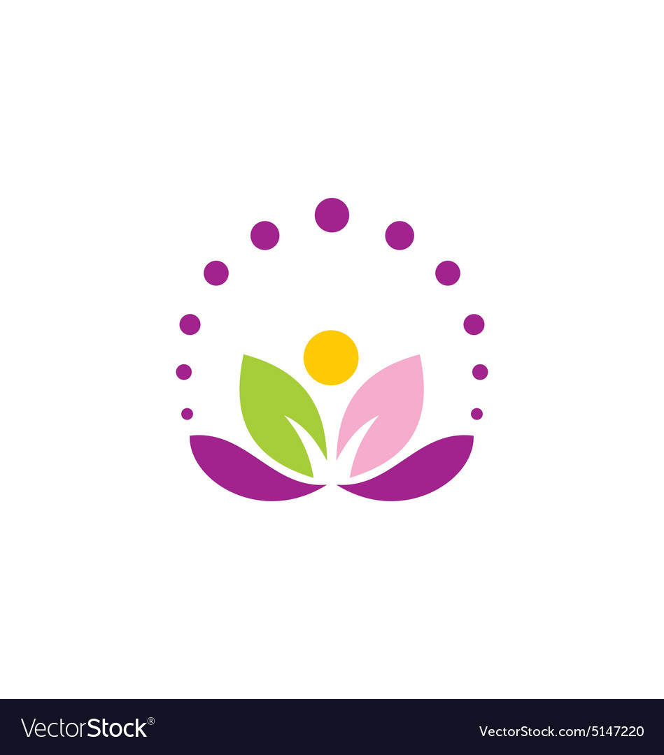 Lotus Flower Abstract Leaf Yoga Logo Royalty Free Vector