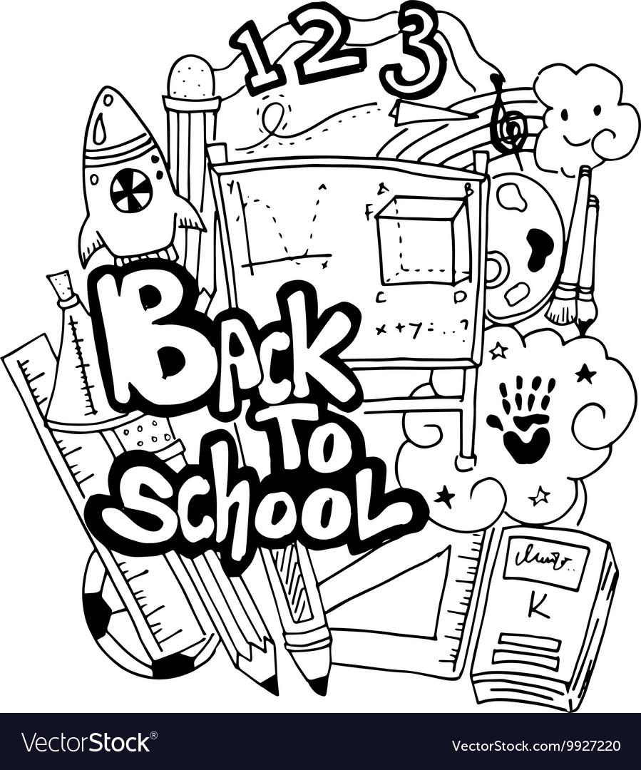 School education doodle art Royalty Free Vector Image
