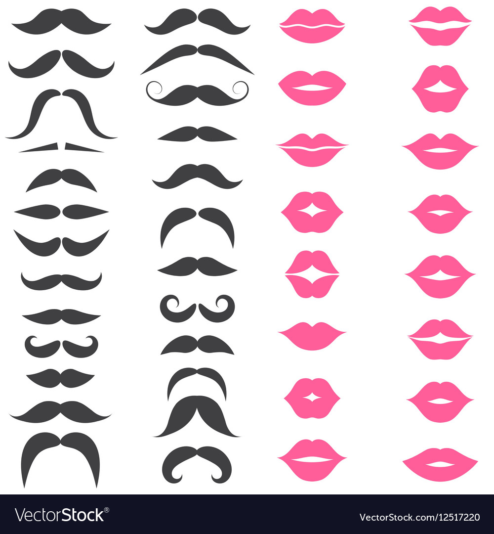 Set of mustache and pink lips isolated on white vector image