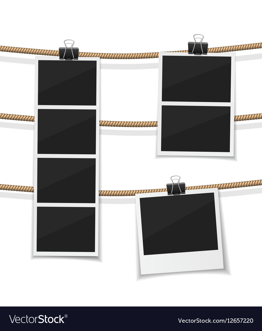 Set of photobooth and photos hanged on