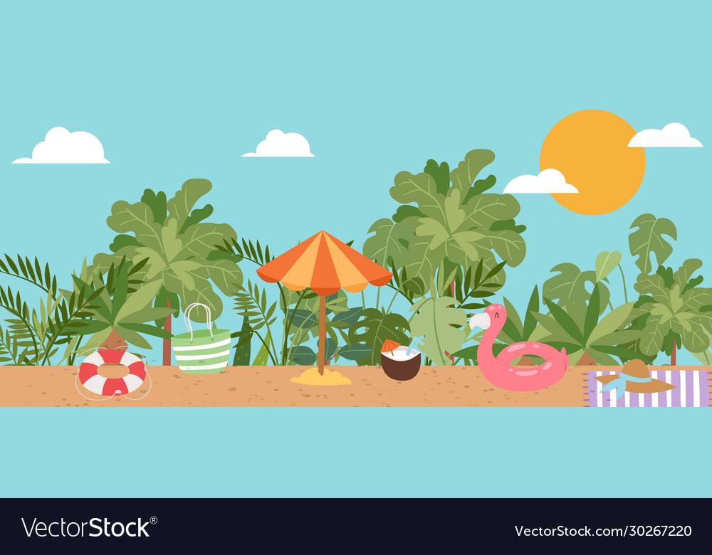 Summer vacation beach sun umbrella sand palm