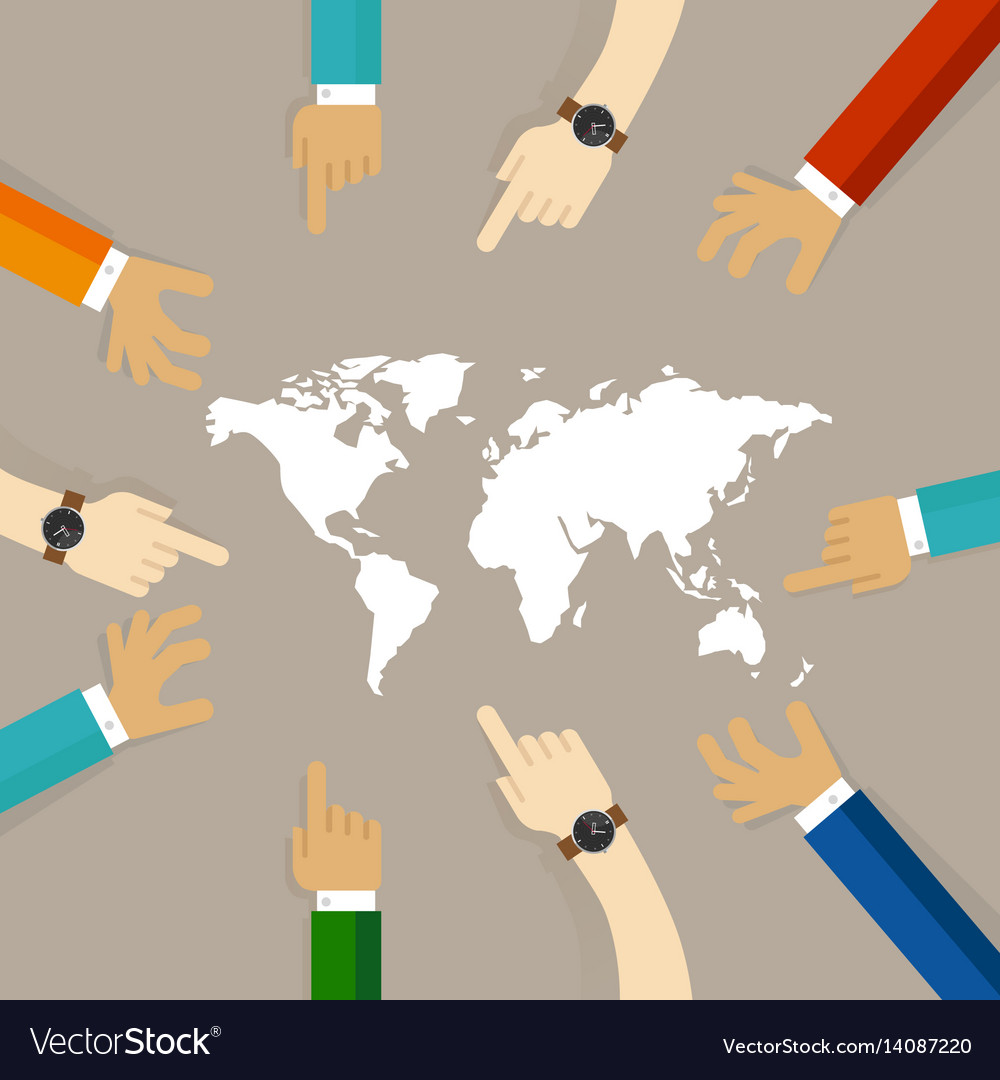 World map together hands pointing together concept world map together hands pointing together concept vector image gumiabroncs Image collections