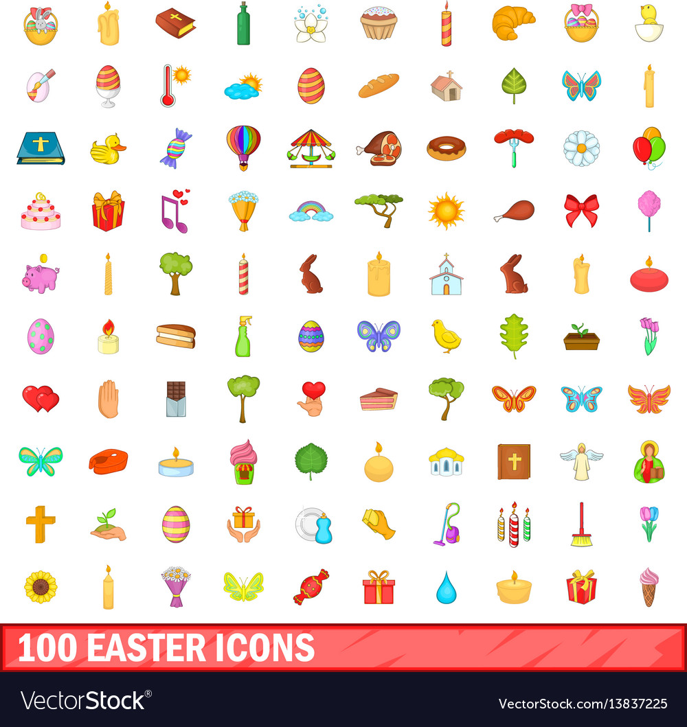100 easter icons set cartoon style