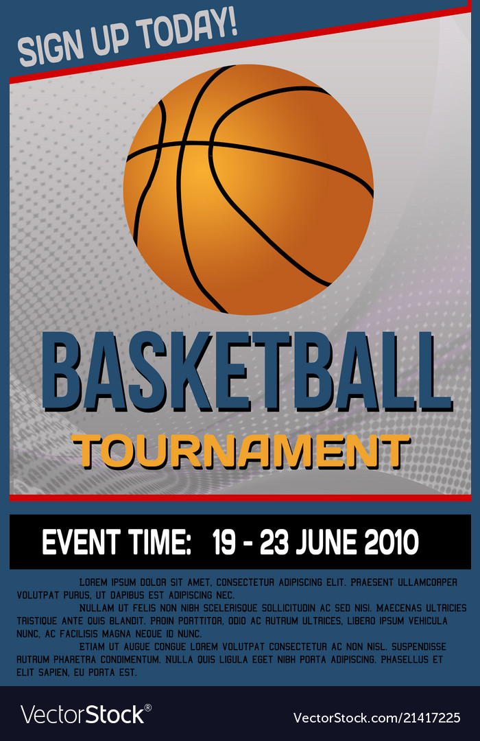 basketball tournament flyer or poster royalty free vector