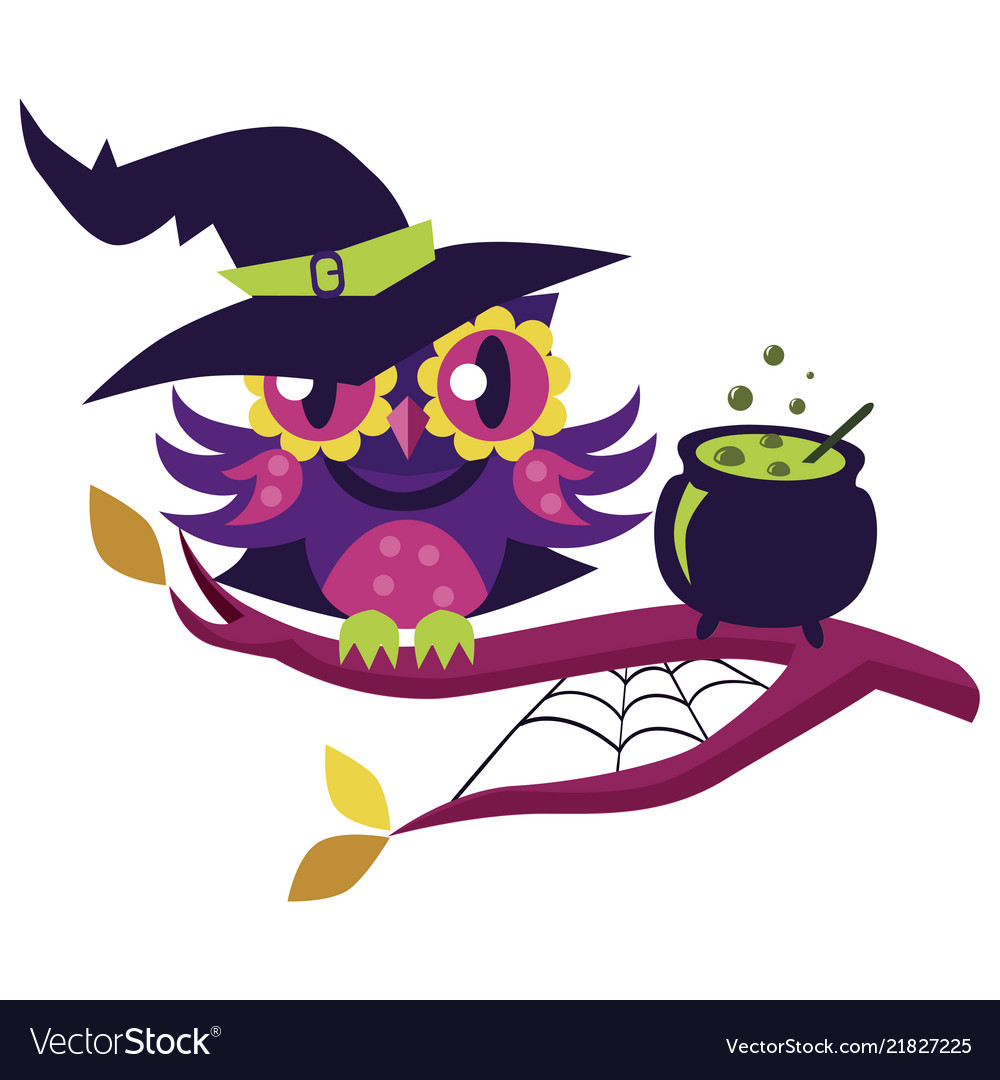 Cartoon owl in halloween costume of witch mystery