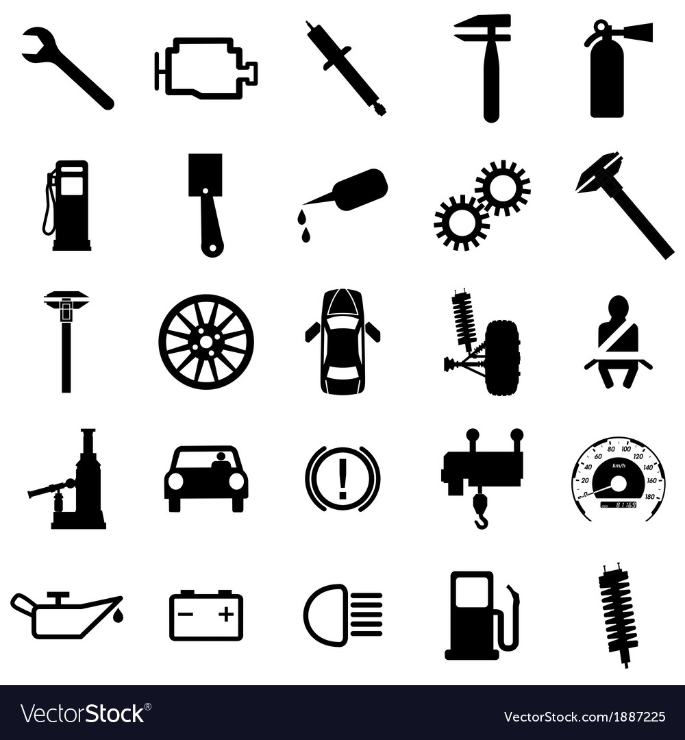 Collection Flat Icons Car Symbols Royalty Free Vector Image