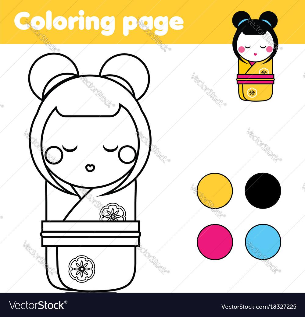 Coloring Page With Japanese Kokeshi Doll Drawing Vector Image