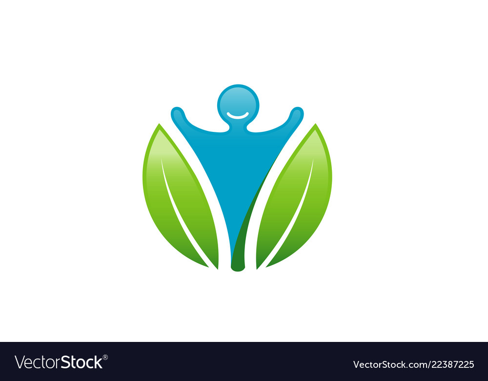 Creative body leaves circle logo