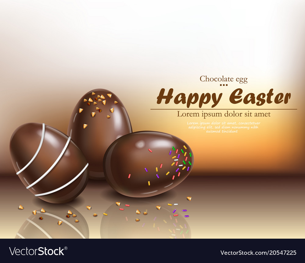 Happy easter chocolate eggs card 3d