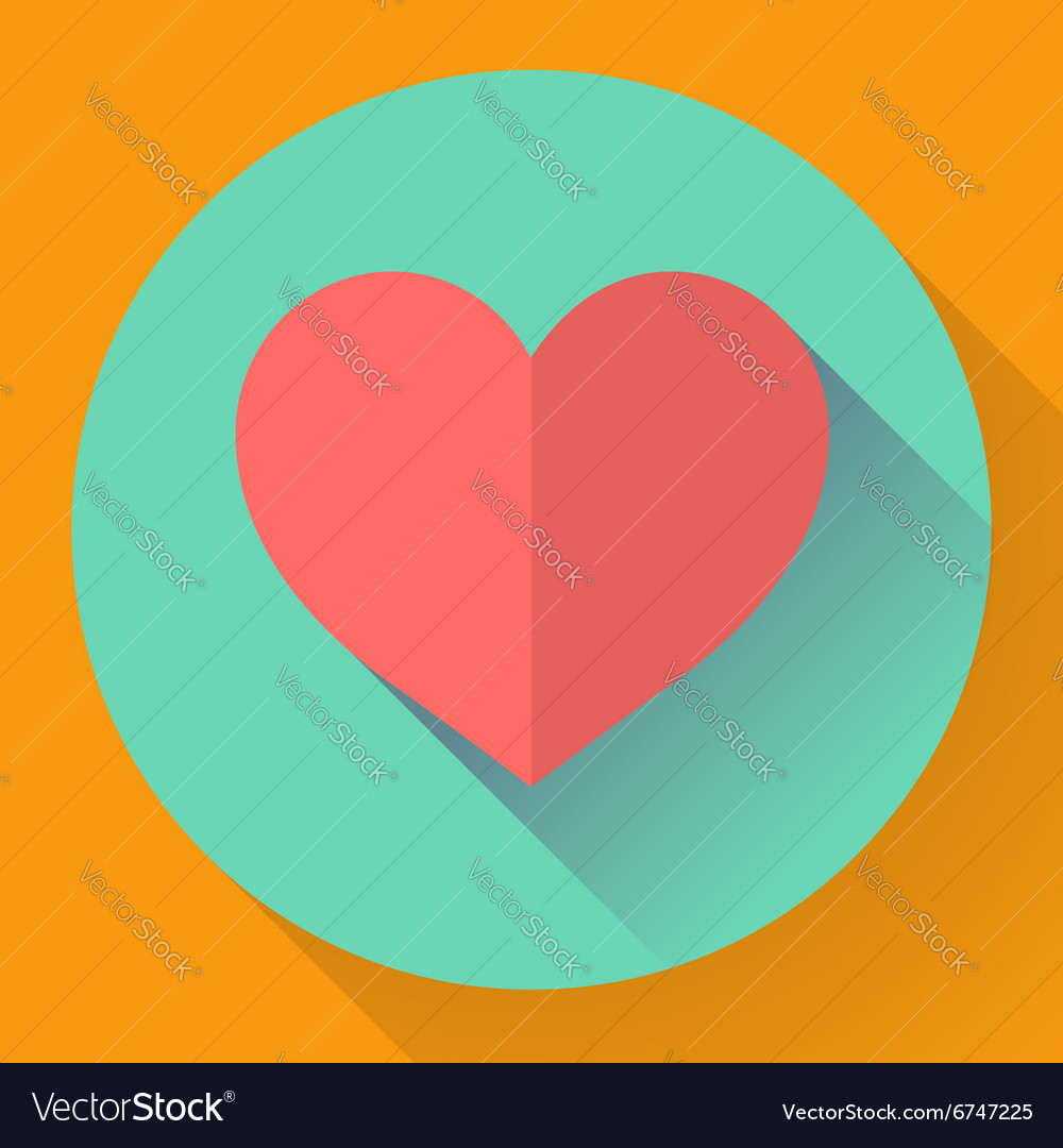 Heart with long shadow Flat designed style