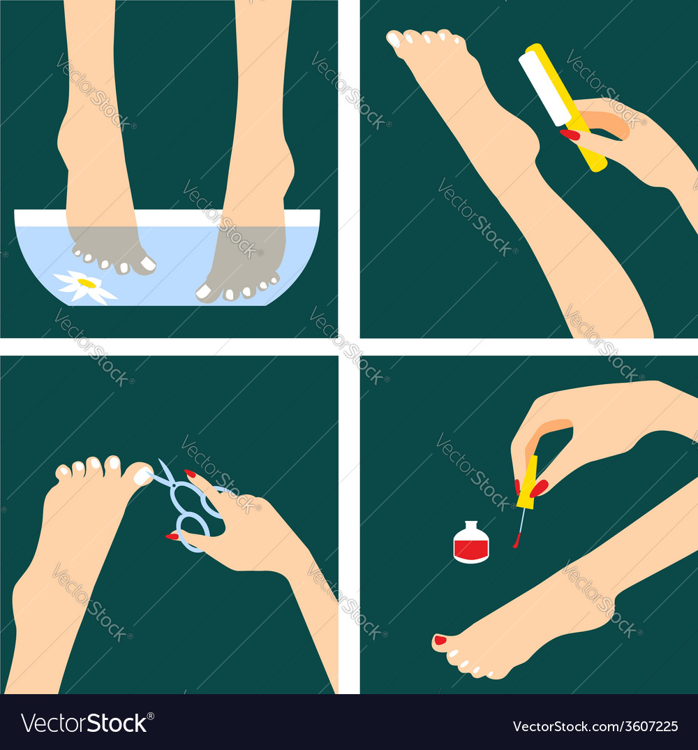 icons set in flat design style with woman feet vector image vectorstock