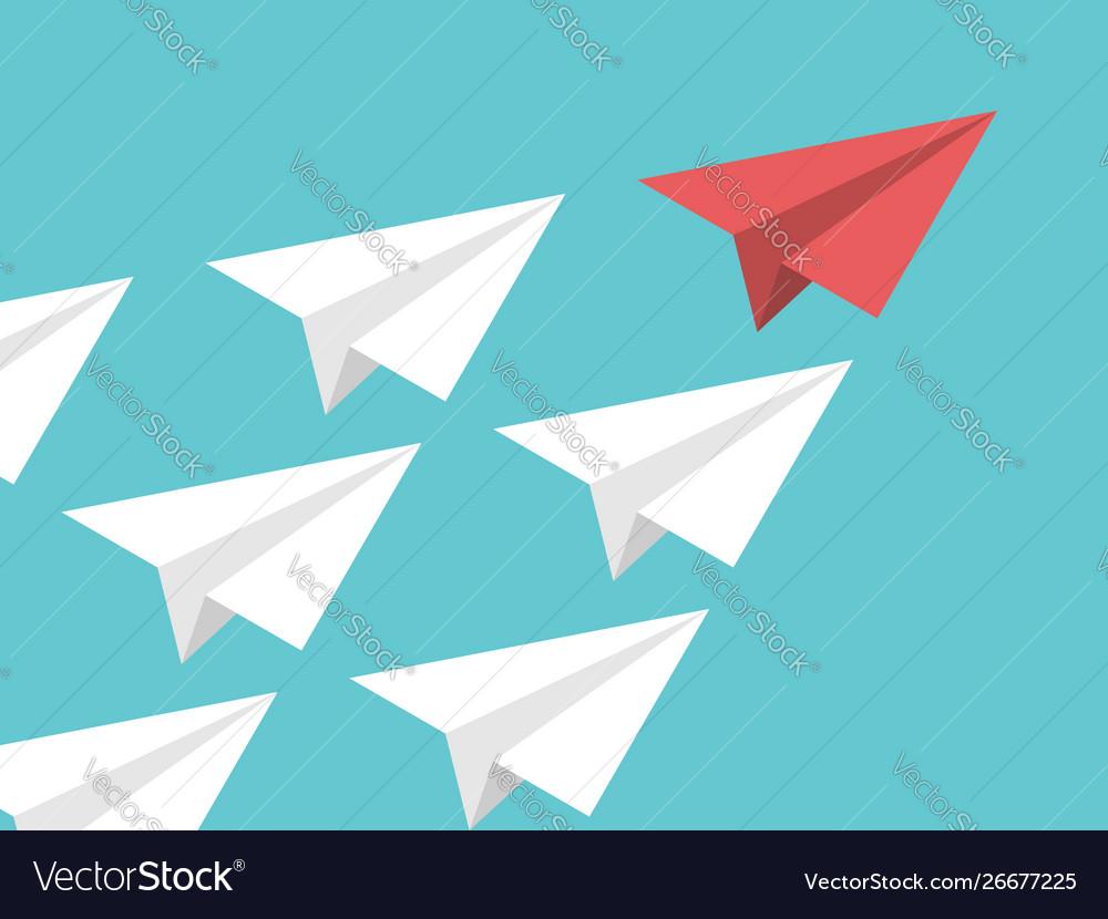 Isometric paper plane leadership