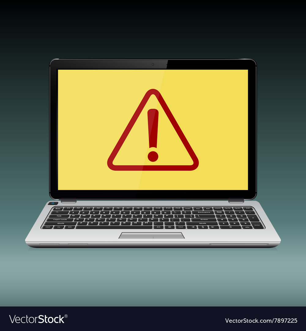 Laptop with exclamation mark on the display vector image