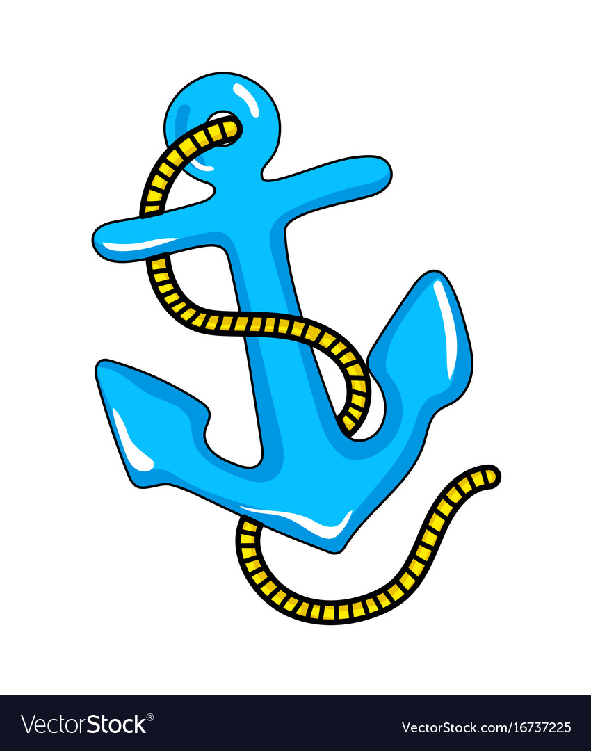 Pirate sailing vessel anchor icon vector image