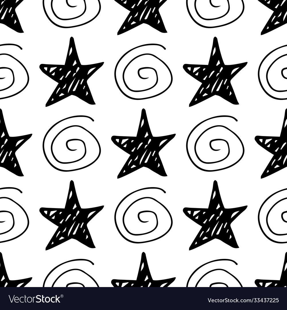 Seamless star pattern hand-drawn stars and vector