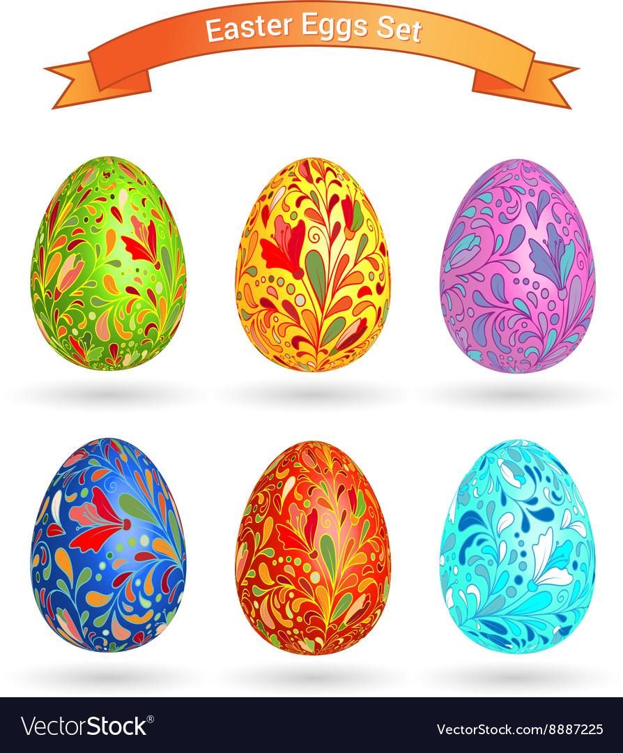 Set of color Easter eggs Doodle ornate pattern