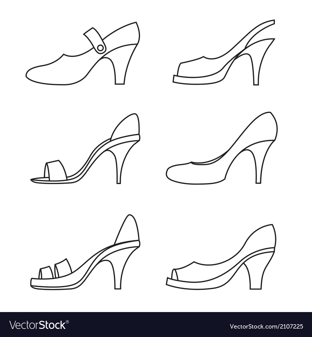 Set Of Outline High Heels Shoes vector image