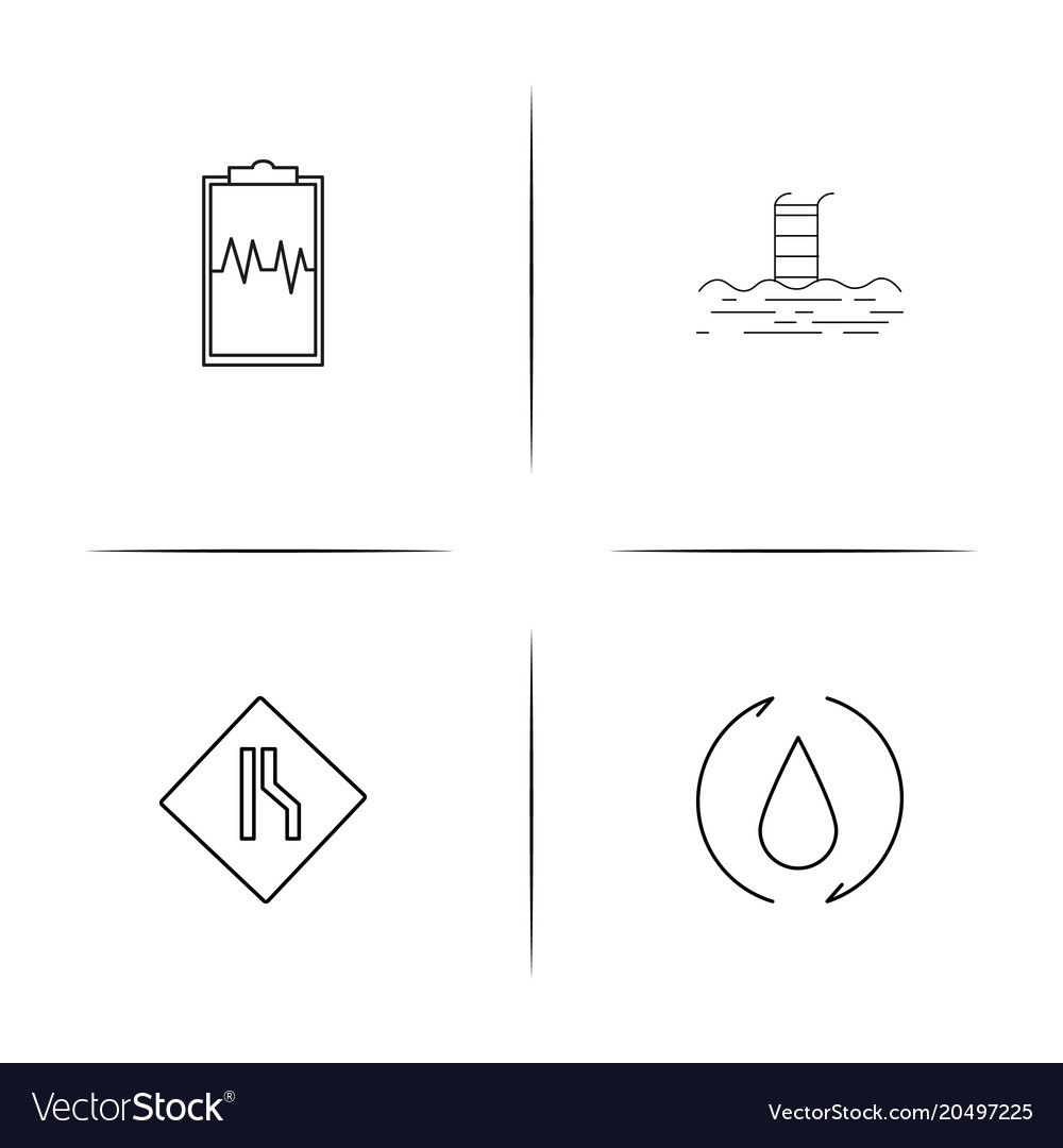 Sport fitness and recreation simple linear icons