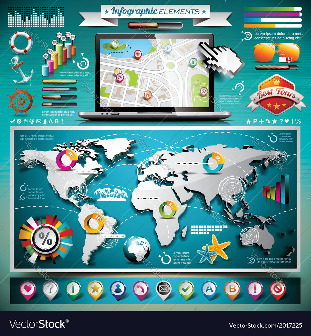 Summer travel infographic set with world map