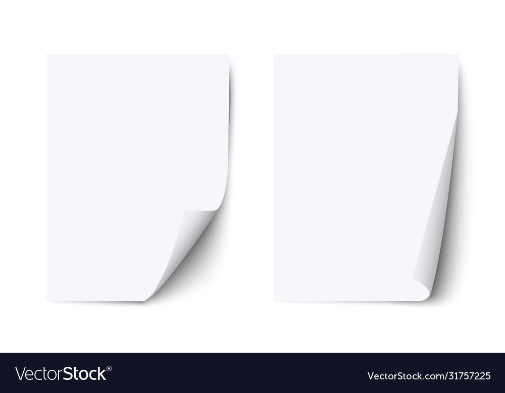 White blank sheet paper with curled corner and