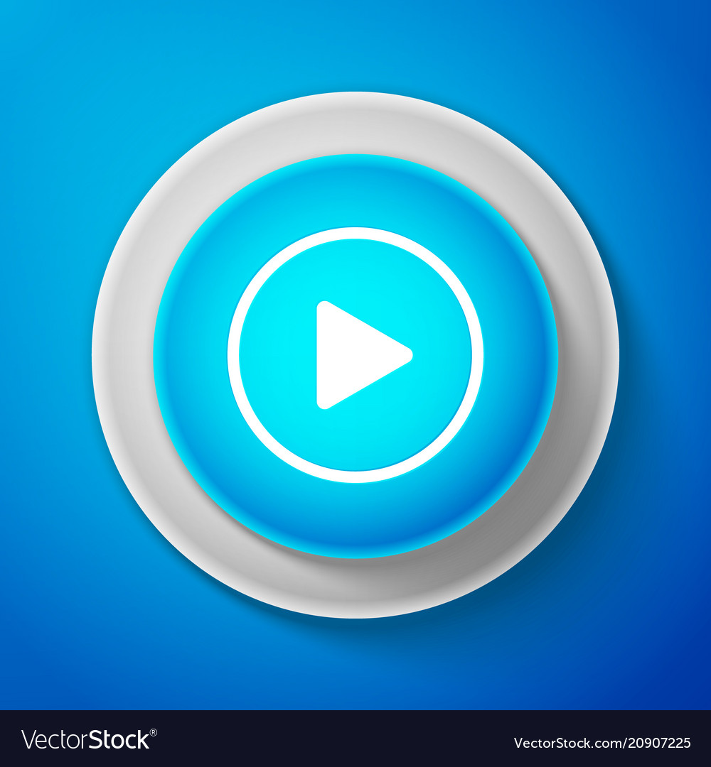 White play icon isolated on blue background
