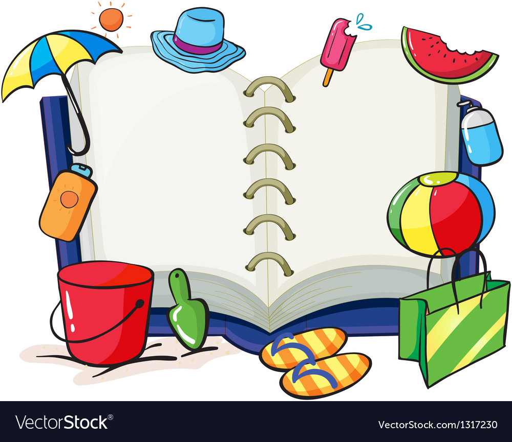 an empty book with the things used during summer vector image