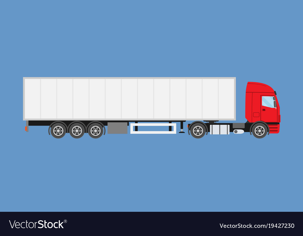 Big commercial semi truck with trailer trailer