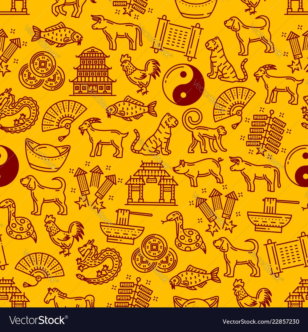 Chinese horoscope animals and symbols pattern