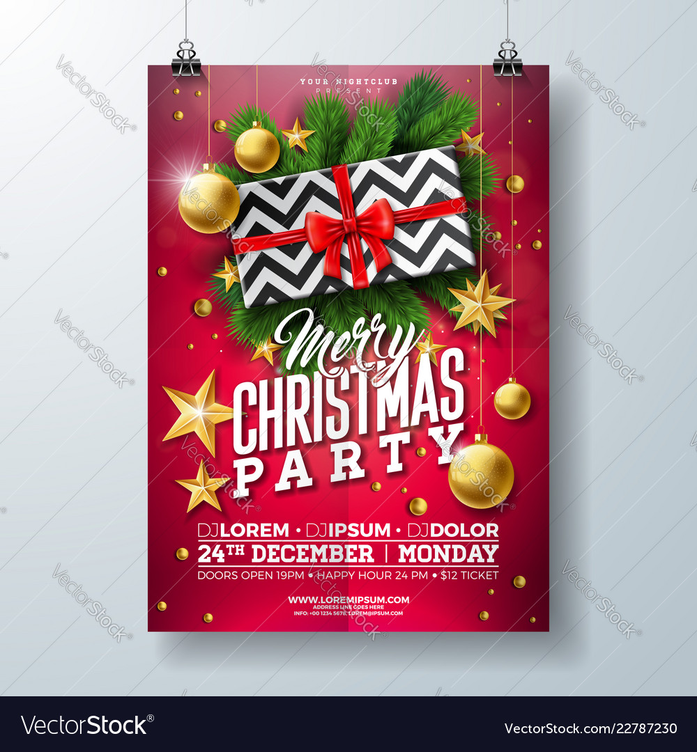 Christmas party flyer with gift box
