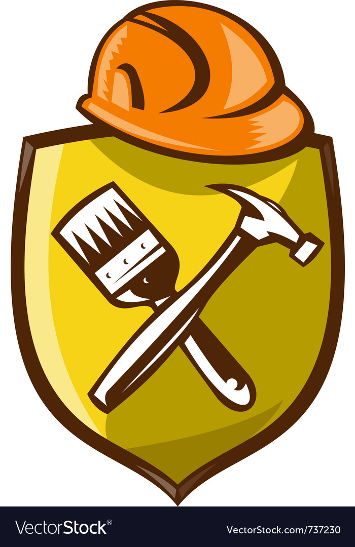 Construction shield symbol vector image