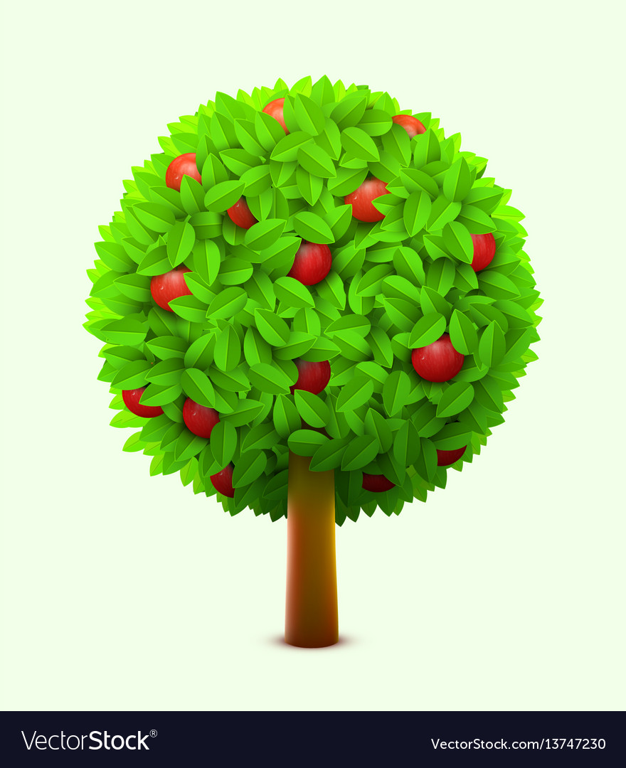 Cute apple tree with green leaves and red ripe