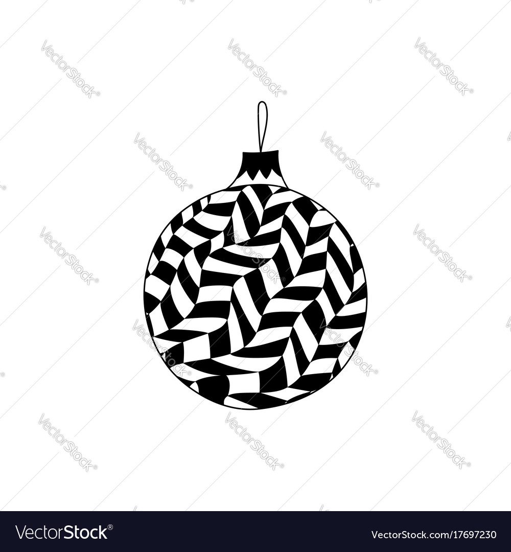 Hand drawn christmas ball toy with in zentangle Vector Image