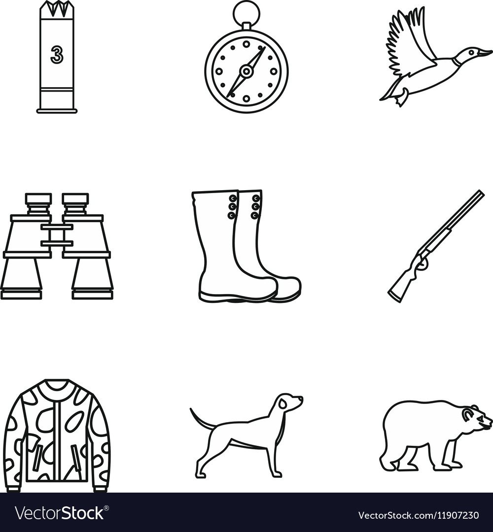Hunting in forest icons set outline style