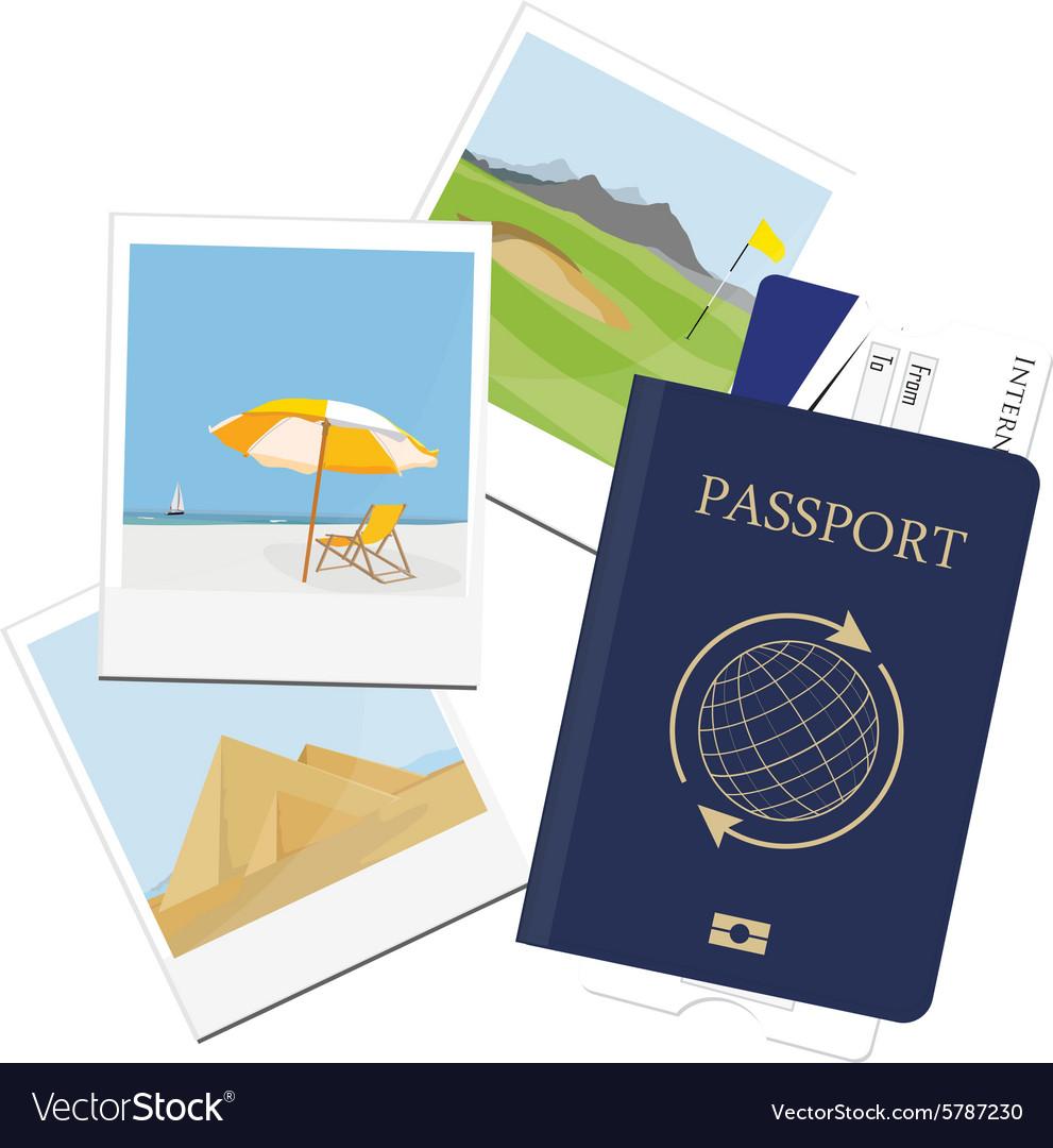 Passport ticket polaroid picture