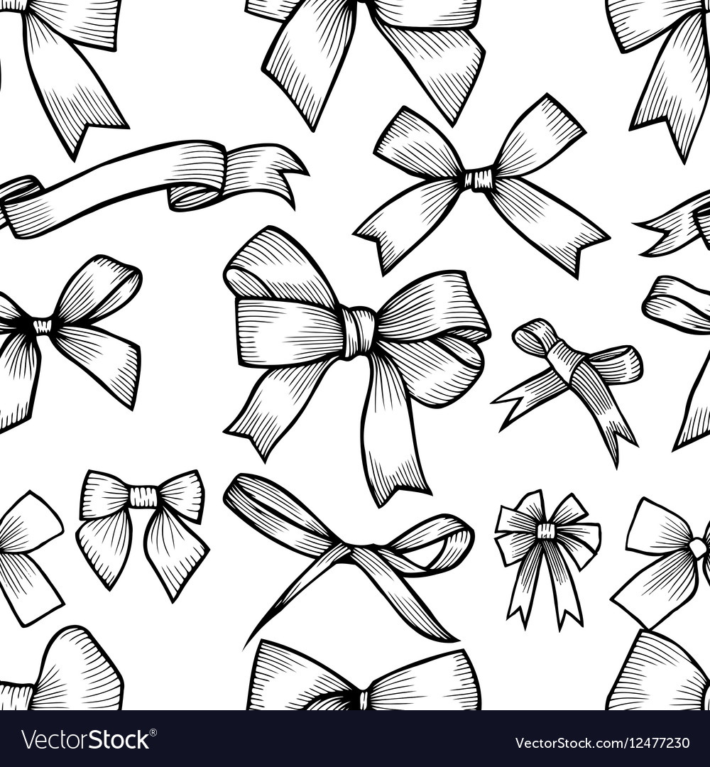 Seamless pattern with hand drawn bow