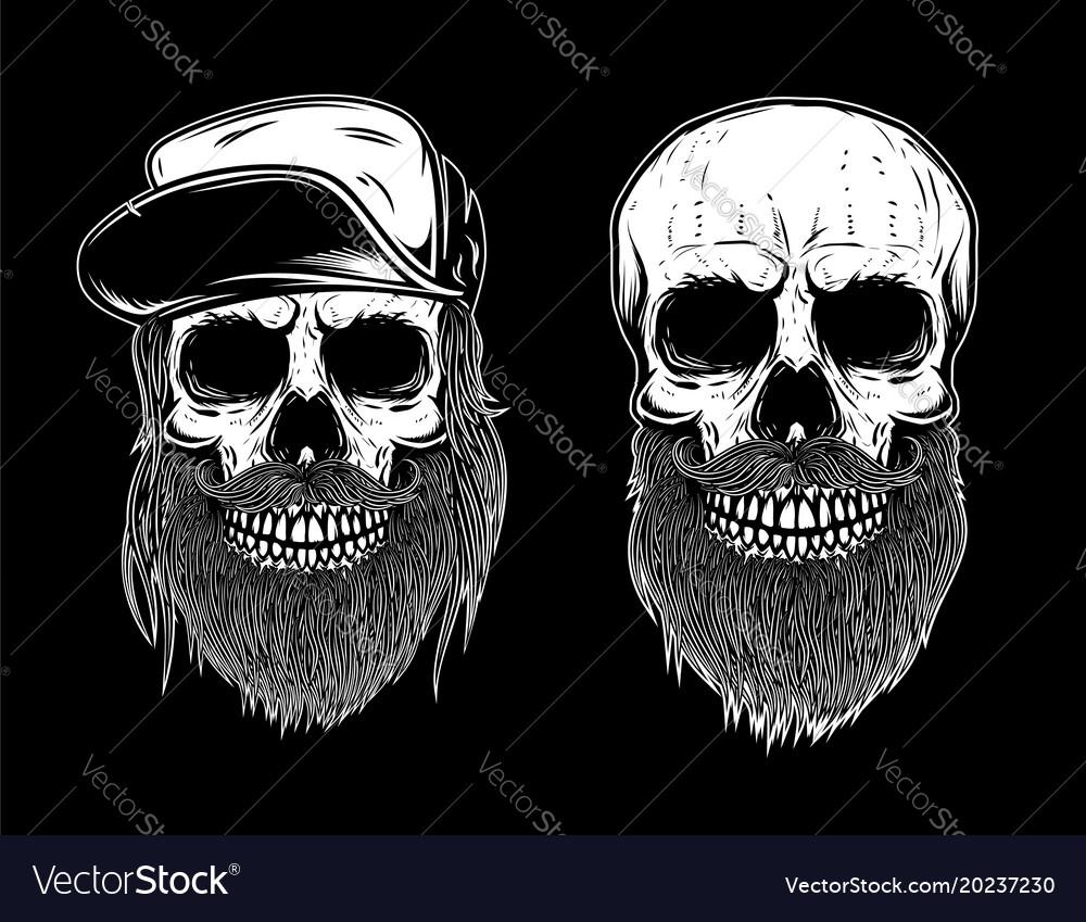 Set of bearded skulls isolated on dark background