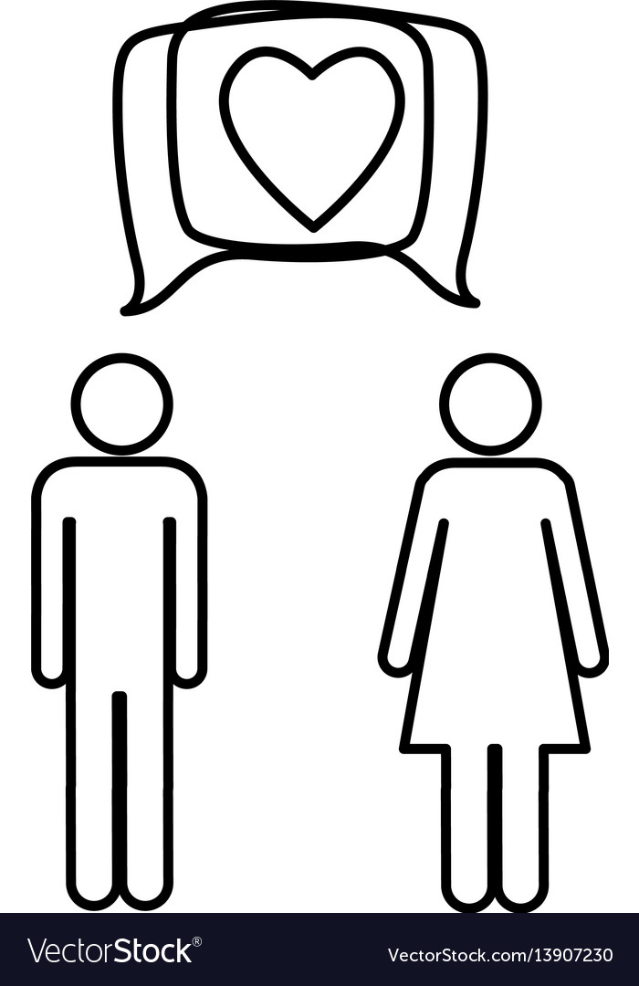 Silhouette pictogram male and female with square