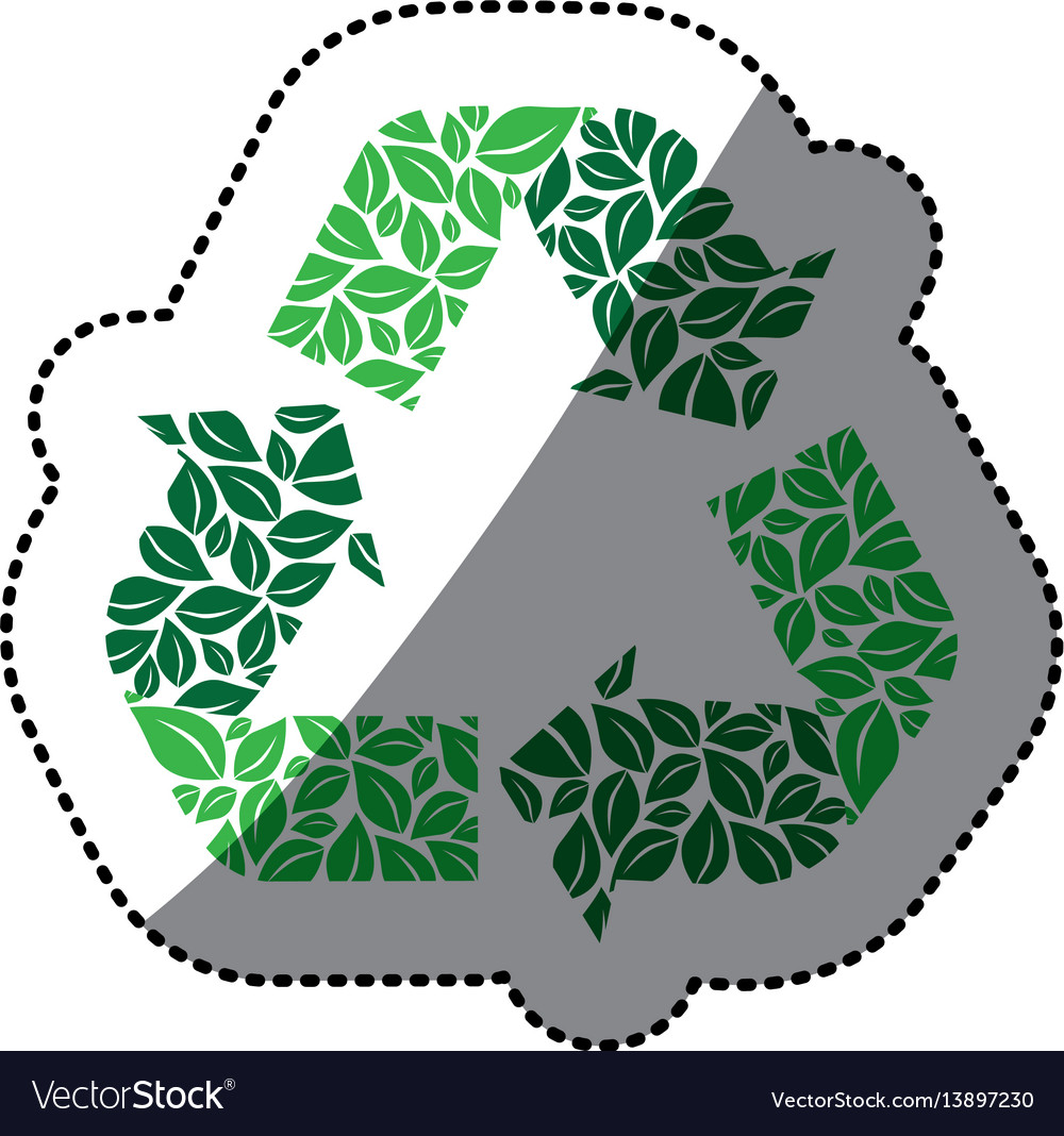 Sticker green recycling symbol with arrows and