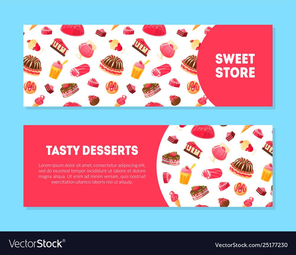 Sweet store tasty desserts banner templates set