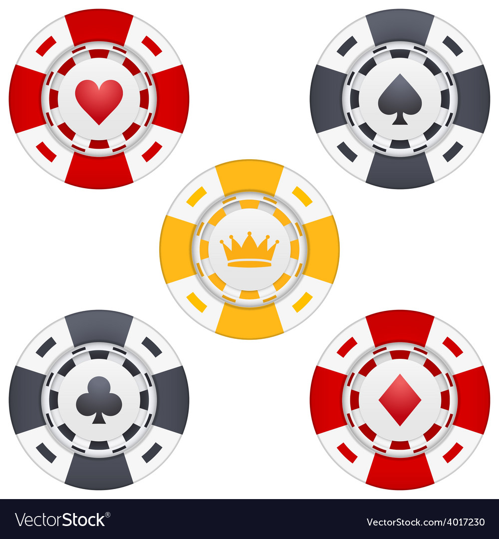 Universal casino chips with playing cards icons vector image