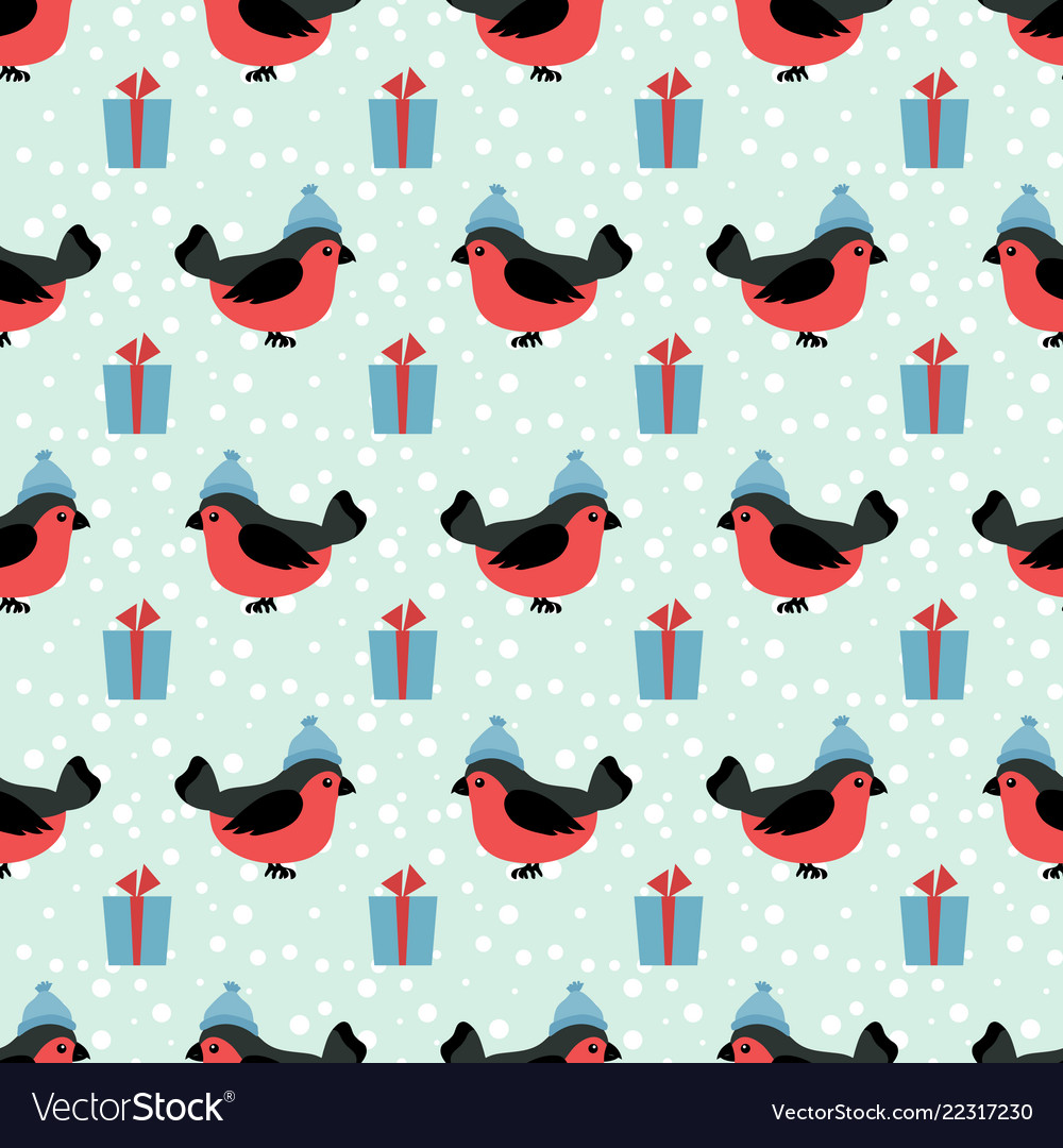 Winter holidays seamless pattern with cartoon