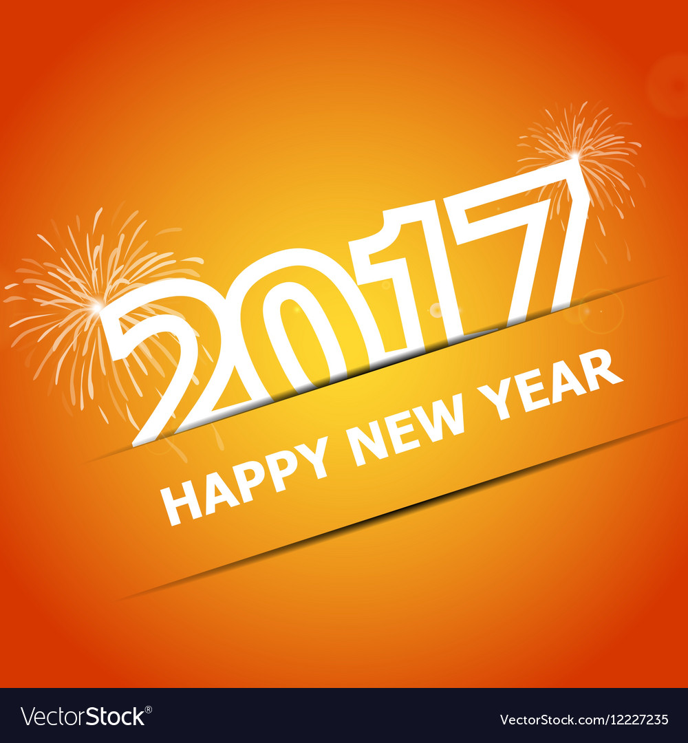 2017 Happy New Year on orange background vector image