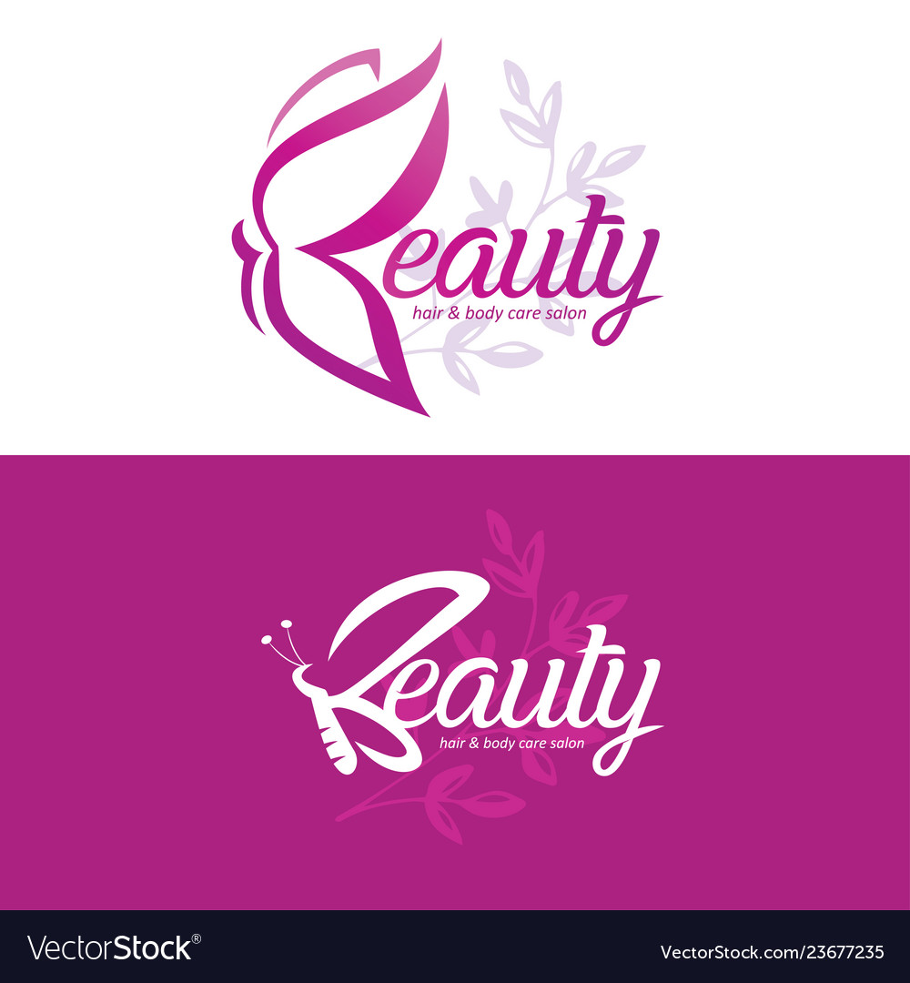 Beauty logo template with butterfly stylized