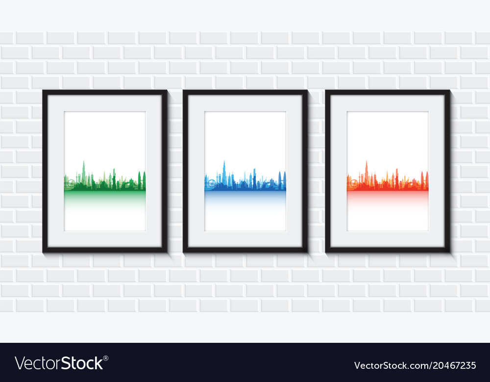 Cityscapes on a brick wall vector image