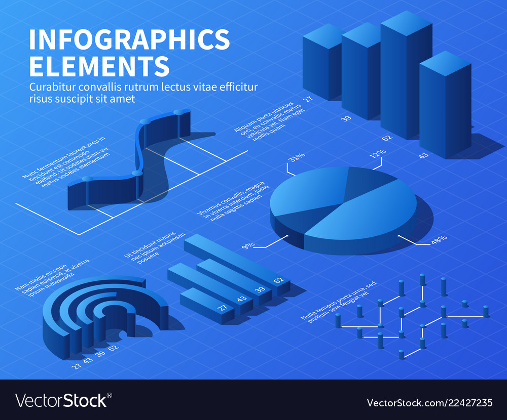 Isometric infographic 3d statistics graphs and