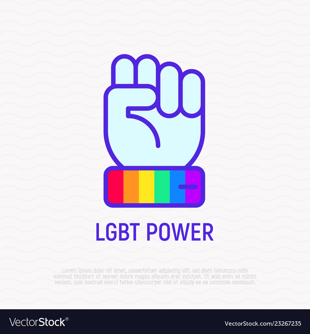 Lgbt power line icon hand with rainbow wristband