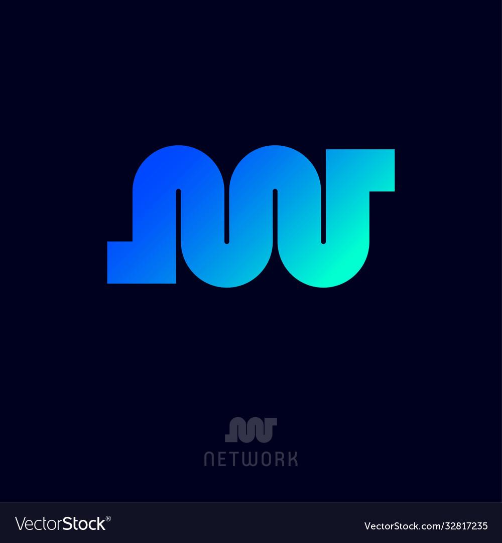 N w monogram network logo blue azure gradient