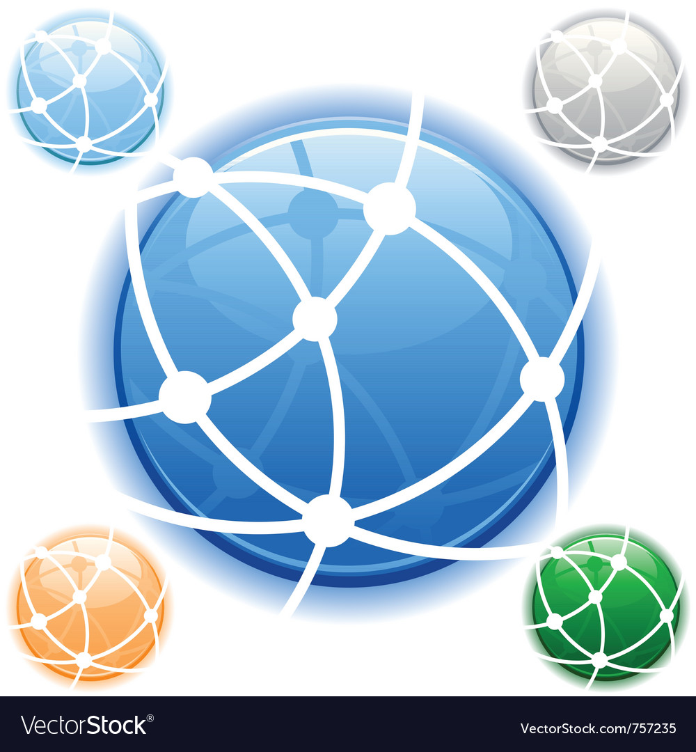 Network icon in blue on isolated white background vector image